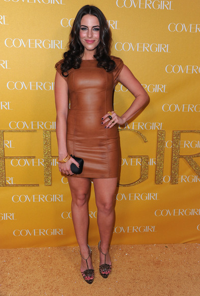 Jessica Lowndes Cocktail Dress [clothing,dress,cocktail dress,shoulder,yellow,joint,fashion,leg,long hair,brown hair,arrivals,jessica lowndes,covergirl cosmetics,covergirl cosmetic,west hollywood,california,party,50th anniversary party]