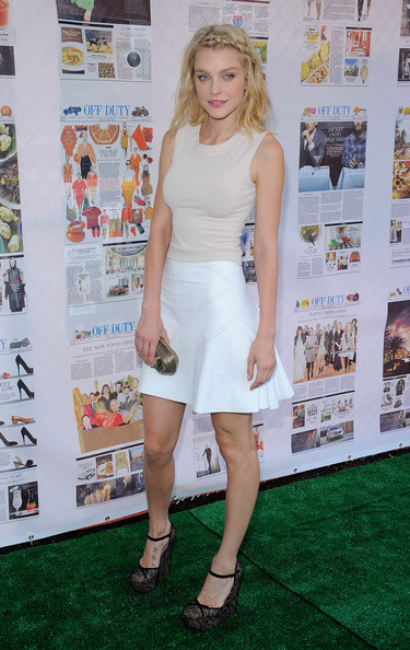 Jessica Stam Tank Top [clothing,dress,carpet,premiere,fashion,cocktail dress,red carpet,footwear,leg,flooring,jessica stam,off duty party,summer with off duty,the lot,new york city,the high line,party]