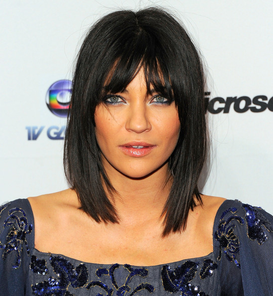 half cornrow and weave hairstyles : More Pics of Jessica Szohr Medium Straight Cut with Bangs (12 of ...