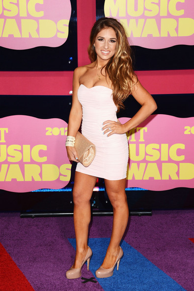 Jessie James Platform Pumps [clothing,red carpet,dress,carpet,leg,thigh,shoulder,premiere,long hair,footwear,arrivals,jessie james,cmt music awards,nashville,tennessee,bridgestone arena]