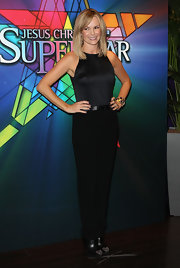 Amanda Holden wore a sleek embossed satin tank to the opening night of 'Jesus Christ Superstar.'