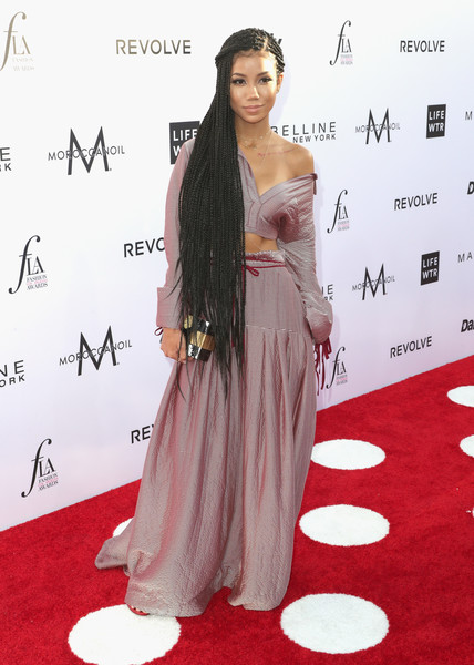 Jhene Aiko Long Skirt [red carpet,carpet,clothing,shoulder,dress,hairstyle,flooring,long hair,premiere,joint,arrivals,jhene aiko,west hollywood,california,sunset tower hotel,daily front row,3rd annual fashion los angeles awards]