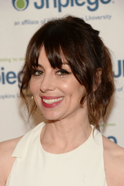 Natasha Leggero attended the Laughter is the Best Medicine event wearing a loose ponytail with eye-grazing bangs.