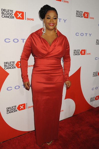 Jill Scott Evening Dress [red,clothing,red carpet,carpet,dress,shoulder,hairstyle,orange,cocktail dress,fashion,vera wang,leighton meester,jill scott,suzi weiss-fischmann - inside,suzi weiss-fischmann,blood cancer gala honors,new york city,blood cancer gala]