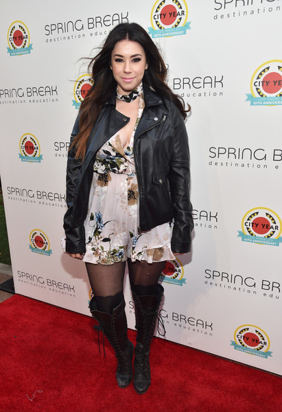 Jillian Rose Reed Lace Up Boots [clothing,carpet,footwear,joint,fashion,thigh,red carpet,knee-high boot,leg,knee,jillian rose reed,los angeles,california,city year,spring break]