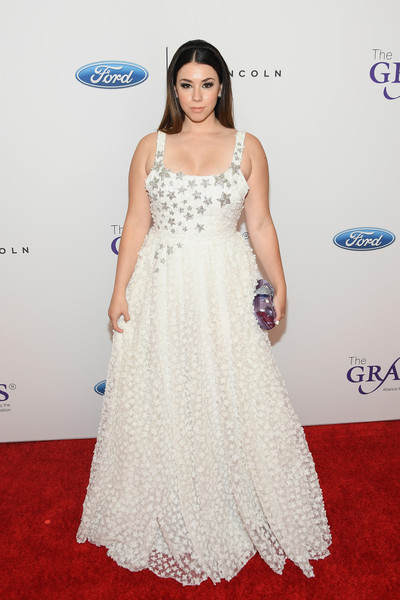 Jillian Rose Reed Princess Gown [dress,clothing,red carpet,gown,carpet,white,shoulder,fashion model,flooring,hairstyle,arrivals,jillian rose reed,beverly wilshire hotel,beverly hills,california,annual gracie awards]