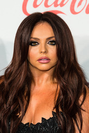 Jesy Nelson topped off her look with long, face-framing waves when she attended the Jingle Bell Ball.