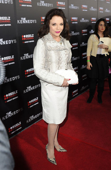 Joan Collins Pumps [the kennedys,clothing,carpet,red carpet,premiere,flooring,dress,fashion,cocktail dress,event,footwear,joan collins,california,beverly hills,samuel goldwyn theater,reelzchannel,the reelzchannel world,ampas,premiere,premiere]
