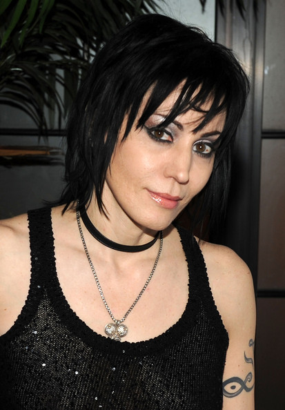 Joan Jett Gemstone Pendant [the runaways,hair,black,human hair color,beauty,hairstyle,lady,black hair,girl,bangs,long hair,joan jett,new york,the bowery hotel,party,premiere,party,premiere]