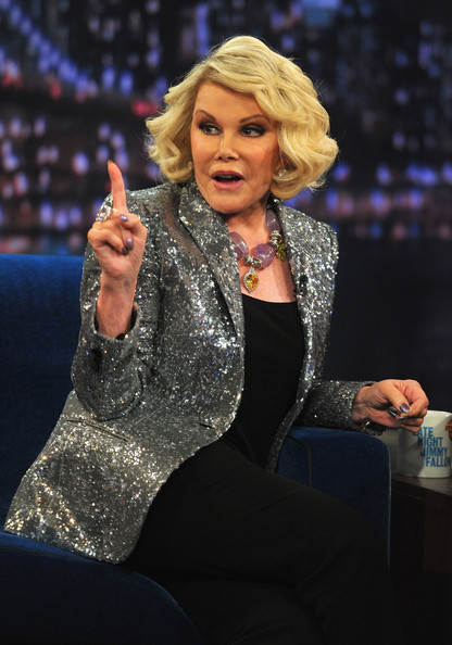 Joan Rivers Blazer [joan rivers,late night with jimmy fallon,music artist,performance,singer,event,performing arts,singing,talent show,television presenter,thigh,gesture,new york city,rockefeller center]