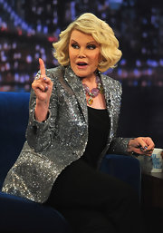 Joan Rivers is not one to shy away from sparkles, especially not with this silver sparkly blazer she wore on 'Late Night with Jimmy Fallon.'