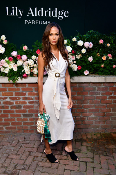 Joan Smalls Peep Toe Pumps [photo,white,clothing,shoulder,street fashion,dress,lady,fashion,footwear,snapshot,formal wear,joan smalls,lily aldridge,the bowery terrace,new york city,bowery hotel,lily aldridge parfums launch event,launch event]