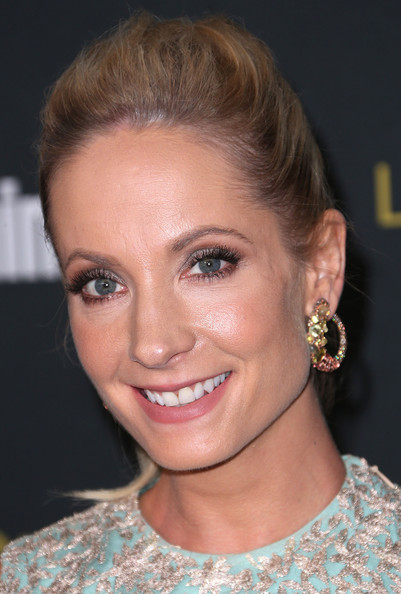 Joanne Froggatt Gemstone Hoops [hair,face,eyebrow,hairstyle,chin,lip,blond,head,beauty,forehead,party - arrivals,joanne froggatt,west hollywood,california,fig olive melrose place,entertainment weekly,pre emmy party]