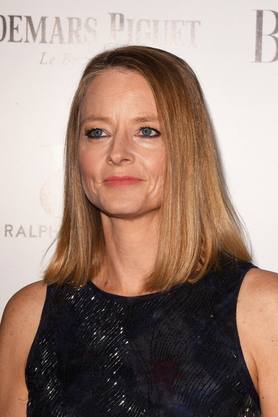 Jodie Foster Medium Straight Cut [hair,face,hairstyle,shoulder,blond,eyebrow,chin,nose,premiere,long hair,arrivals,jodie foster,director,harpers bazaar women of the year awards,london,england,claridges hotel,harpers bazaar woman of the year awards]