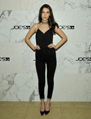 Bella Hadid teamed her cami with black skinny jeans, also by Joe's.