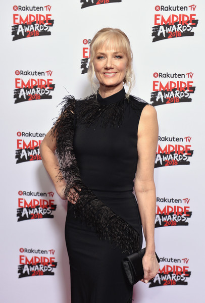 Joely Richardson Satin Clutch [clothing,premiere,little black dress,dress,carpet,magazine,red carpet,joely richardson,tv empire awards,london,england,the roundhouse,rakuten,red carpet arrivals]