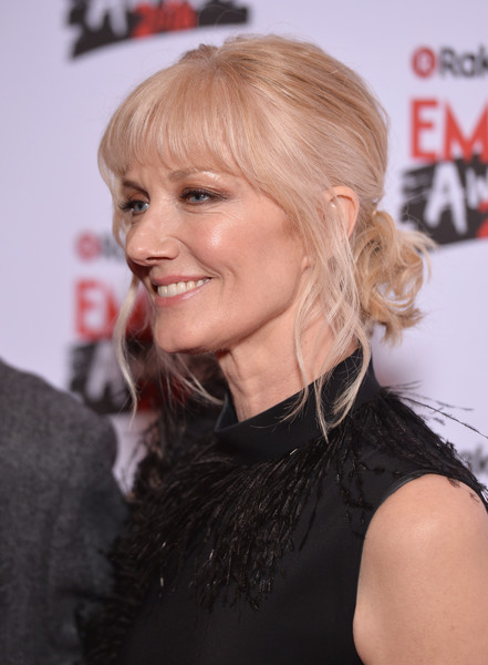 Joely Richardson Curly Updo [hair,hairstyle,blond,chin,lip,long hair,layered hair,brown hair,hair coloring,ear,joely richardson,tv empire awards,london,england,the roundhouse,rakuten,red carpet arrivals]