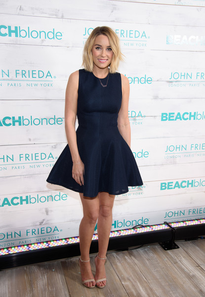 A flippy blue frock plays up Lauren Conrad's girly side at a John Frieda Hair Care party.