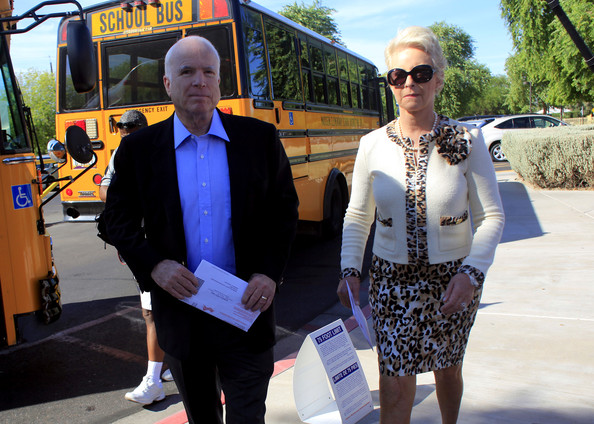 John And Cindy McCain Vote In Arizona Primary