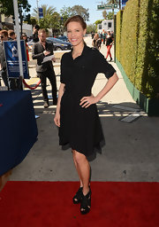 KaDee Strickland opted for a button down version of the little black dress for her daytime red carpet look.