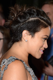 Gina Rodriguez went the punk-glam route with these hair knots at the Toronto premiere of 'Deepwater Horizon.'