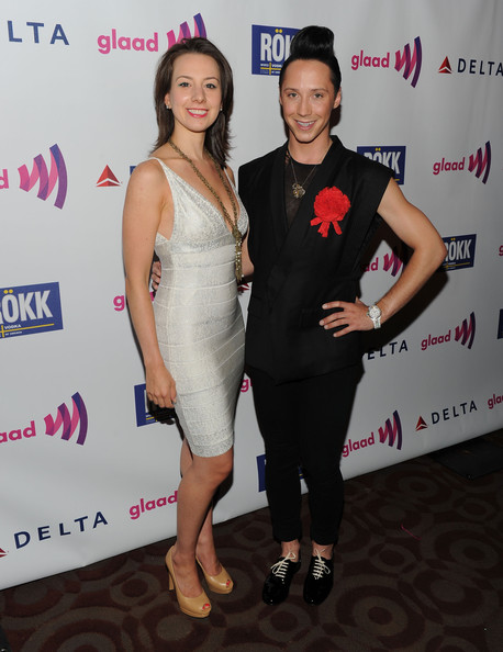 Johnny Weir Classic Bun [clothing,shoulder,cocktail dress,dress,fashion,event,joint,premiere,fashion design,little black dress,glaad manhattan,230 fifth avenue,new york city,figure skaters,sarah hughes,johnny weir]