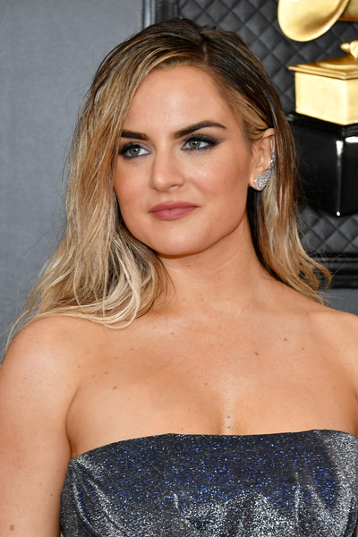 Jojo Long Side Part [hair,face,blond,hairstyle,shoulder,beauty,eyebrow,dress,premiere,strapless dress,arrivals,jojo,staples center,los angeles,california,annual grammy awards,jojo,staples center,celebrity,fashion,beauty,singer-songwriter,photograph,actor]