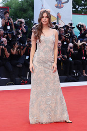 Barbara Palvin kept it sweet and feminine in an embroidered slip gown by Armani at the Venice Film Festival screening of 'Joker.'