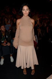 Leigh Lezark was a cool mom-to-be in this fringed nude cold-shoulder top by Jonathan Simkhai while attending the label's fashion show.