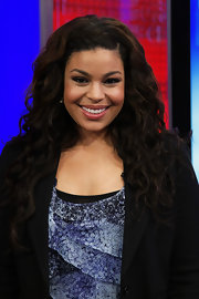 Jordin Sparks showed off her long curls while hitting the 'Fox and Friends' show.