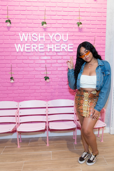 Jordyn Woods Mini Skirt [pink,clothing,beauty,fashion,footwear,magenta,leg,textile,shoe,denim,jordyn woods,musician,actor,riley rose,model,pink,clothing,glendale galleria,riley rose celebrates store,store opening,kylie jenner,riley rose,glendale galleria,aladdin,chicago,photography,model,musician,actor]
