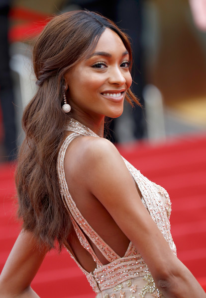 Jourdan Dunn Half Up Half Down [the killing of a sacred deer,hair,hairstyle,fashion model,beauty,long hair,abdomen,shoulder,layered hair,trunk,brown hair,red carpet arrivals,jourdan dunn,cannes,france,cannes film festival,premiere,palais des festivals]