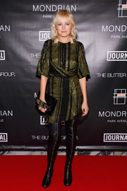 Malin Akerman was demure in a striped army-green dress during Mondrian Park Avenue's grand opening.