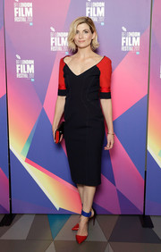 Jodie Whittaker's two-tone ankle-cuff pumps provided a dazzling finish!