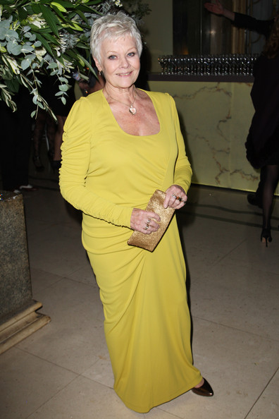 Judi Dench Evening Dress [yellow,dress,event,smile,judi dench,uk,england,london,claridges hotel,tabloid newspapers,nine,world premiere,world premiere afterparty,afterparty]