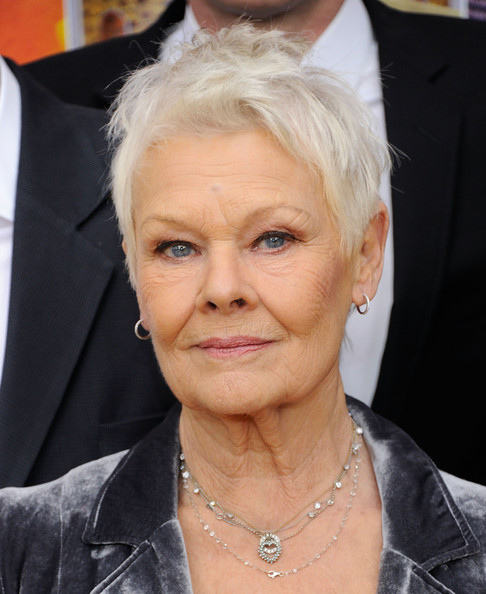 Judi Dench Messy Cut [hair,face,hairstyle,blond,eyebrow,head,chin,forehead,skin,nose,premiere,new york premiere,the best exotic marigold hotel,new york,ziegfeld theatre,judi dench]