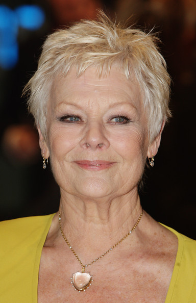 Judi Dench Pixie [hair,face,hairstyle,blond,eyebrow,chin,head,forehead,pixie cut,layered hair,red carpet arrivals,dame judi dench,england,london,odeon leicester square,world premiere,world premiere of nine]