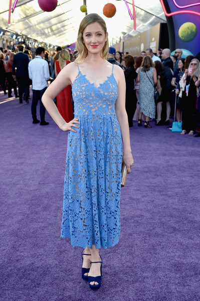 Judy Greer Sundress [guardians of the galaxy vol. 2,red carpet,clothing,dress,cobalt blue,fashion,flooring,carpet,premiere,red carpet,hairstyle,electric blue,judy greer,dolby theatre,california,hollywood,disney,marvel,premiere,premiere]