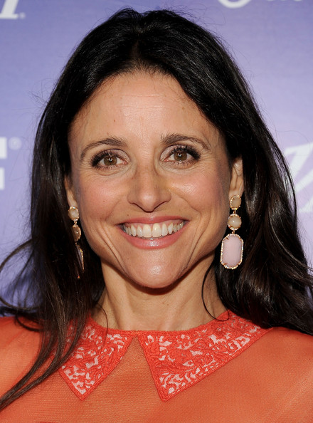 Julia Louis-Dreyfus Dangling Gemstone Earrings [hair,hairstyle,eyebrow,chin,lip,forehead,black hair,smile,long hair,brown hair,julia louis-dreyfus,arrivals,scarpetta,beverly hills,california,variety and women in film pre-emmy event]