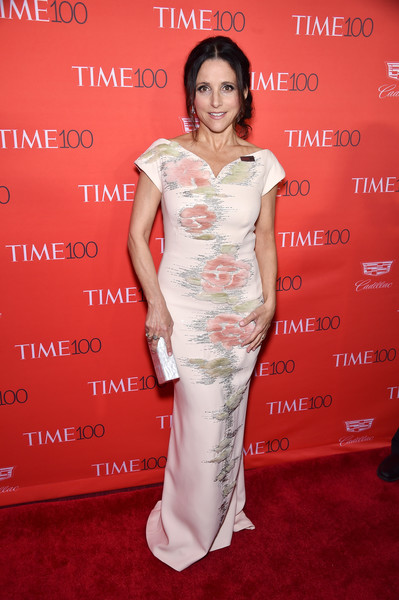 Julia Louis-Dreyfus Evening Dress [flooring,carpet,fashion model,shoulder,beauty,lady,gown,red carpet,joint,dress,people,julia louis-dreyfus,time 100 gala,the world - red carpet,red carpet,times warner center,new york city,jazz at lincoln center]