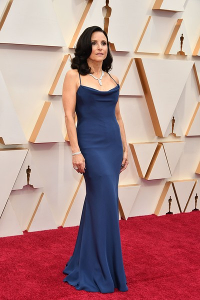 Julia Louis-Dreyfus Halter Dress [red carpet,carpet,dress,clothing,cobalt blue,shoulder,flooring,gown,fashion,hairstyle,arrivals,julia louis-dreyfus,hollywood,california,highland,92nd annual academy awards,olivia colman,dolby theatre,red carpet,hollywood highland,celebrity,92nd academy awards,the 92nd academy awards: oscars watching party,awards ceremony,academy of motion picture arts and sciences]