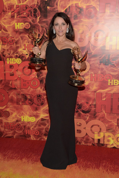 Julia Louis-Dreyfus One Shoulder Dress [clothing,dress,red carpet,carpet,flooring,fashion,shoulder,formal wear,gown,premiere,julia louis-dreyfus,emmy,the plaza,los angeles,california,pacific design center,hbo,arrivals,party]