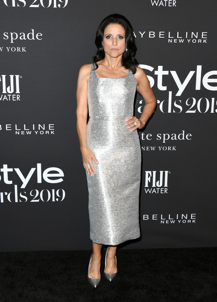 Julia Louis-Dreyfus Evening Pumps [dress,clothing,fashion model,cocktail dress,shoulder,fashion,premiere,hairstyle,flooring,carpet,arrivals,julia louis-dreyfus,instyle awards,fifth annual instyle awards,the getty center,los angeles,california]