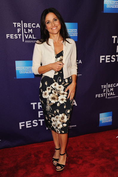 Julia Louis-Dreyfus Wedges [red carpet,clothing,carpet,dress,premiere,fashion,footwear,flooring,shoulder,event,julia louis-dreyfus,escape clause shorts program,amc lowes village,new york city,tribeca film festival]