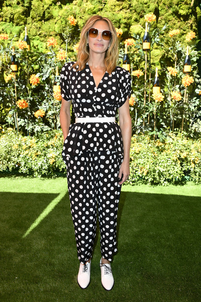 Julia Roberts Peplum Top [clothing,fashion,polka dot,pattern,black-and-white,eyewear,street fashion,design,dress,sunglasses,arrivals,julia roberts,los angeles,pacific palisades,california,will rogers state historic park,veuve clicquot polo classic]