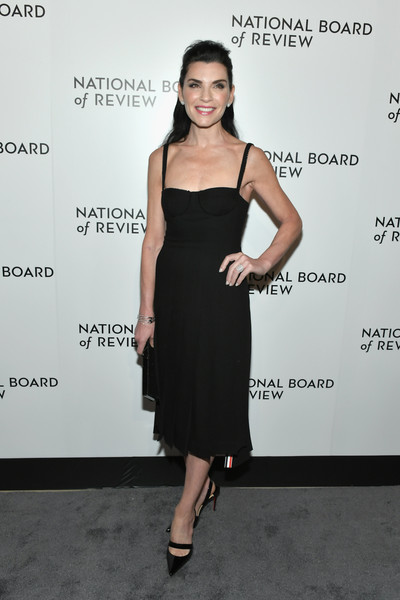 Julianna Margulies Corset Dress [dress,clothing,cocktail dress,shoulder,little black dress,fashion model,fashion,hairstyle,footwear,joint,new york city,cipriani 42nd street,national board of review annual awards gala,julianna margulies]