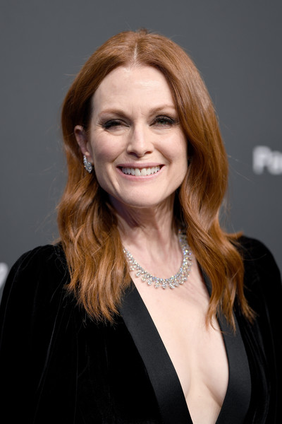 Julianne Moore Long Wavy Cut [beauty,human hair color,hairstyle,fashion model,smile,chin,long hair,girl,fashion,blond,caroline scheufele,julianne moore,rihanna,chopard space party - photocall,cannes,france,port canto,chopard space party,chopard,cannes film festival]