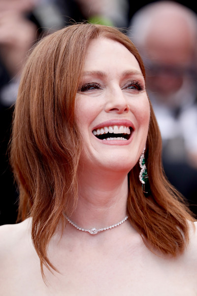 Julianne Moore Medium Wavy Cut [the dead dont die opening ceremony red carpet,the dead dont die,hair,face,hairstyle,facial expression,eyebrow,skin,lip,chin,smile,beauty,julianne moore,jewels,screening,cannes,france,chopard,the 72nd annual cannes film festival,opening ceremony]