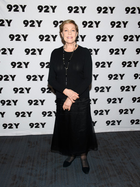 Julie Andrews Crewneck Sweater [julie andrews co-author emma walton hamilton discuss their book ``home work: a memoir of my hollywood years,home work: a memoir of my hollywood years,clothing,dress,little black dress,julie andrews,new york city,92nd street y]