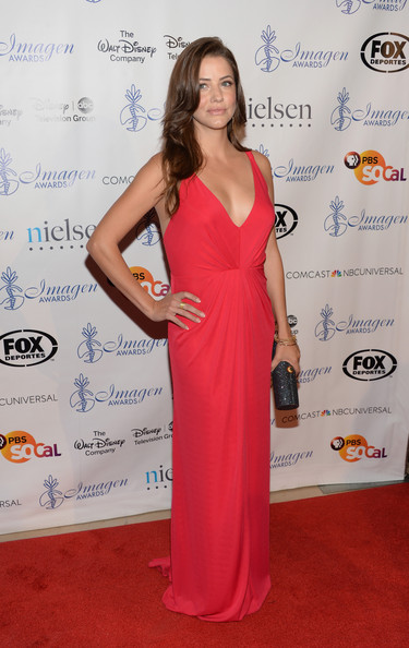 Julie Gonzalo Evening Dress [clothing,red carpet,dress,carpet,shoulder,flooring,gown,premiere,fashion,long hair,arrivals,julie gonzalo,imagen awards,the beverly hilton hotel,beverly hills,california,annual imagen awards]